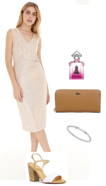 Look de casamento: Vestido nude com carteira Lacoste e perfume Guerlain