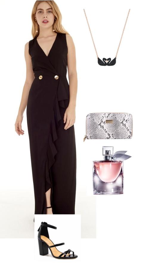 Look de casamento: Vestido preto com carteira Dumond e perfume Lâncome